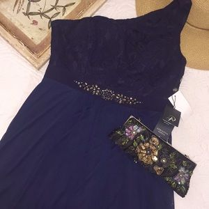 NWT Adrianna Papell embellished one shoulder dress